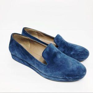 Ecco Blue Suede Slip On Loafer